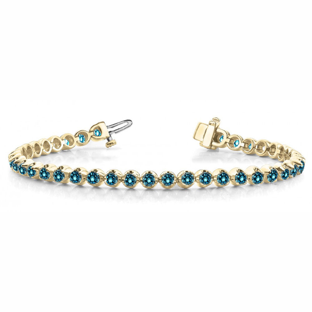 1 Carat bluee SI1 Round Diamond In Line Prong Set  Bracelet 14k Yellow gold