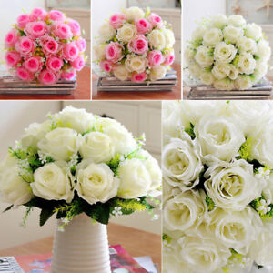 Kunstlich Pfingstrose Blumenstrauss Hochzeit Brautjungfer Rosen Weiss