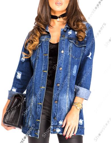 NUOVO sdrucito STRAPPATO OVERSIZE ragazzo lungo giacca di jeans taglia 8 10 12