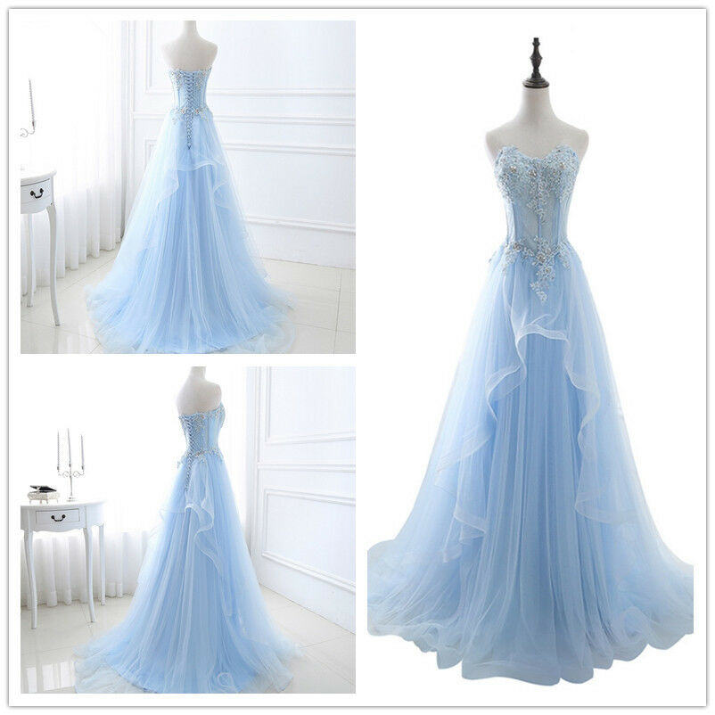 96e5da96b23f6 ... Women Long Tulle Lace Evening Formal Party Ball Gown Gown Gown Prom  Bridesmaid Dress NEW 212fee ...