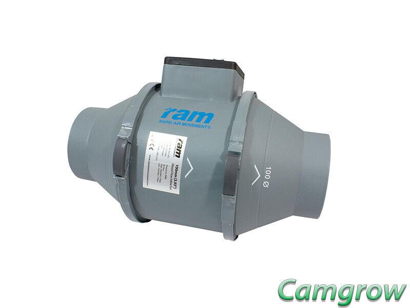 RAM Velocidad de flujo mixto 2 Ventilador en línea - 100mm - 199m³ hr Plug & Go Extractor Ventilador