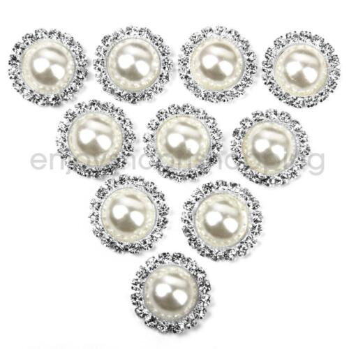 10pcs Crystal Beige Pearl Button 15mm Flatback Embellishment DIY Craft