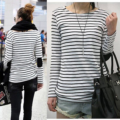 Leisure Women Crew Neck Loose Tops Long Sleeve T Shirt Stripe Blouse Tees D83