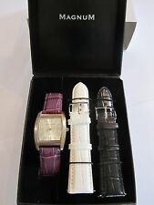 Magnum Ladies * Rechteckig * Damen Quarz Uhr * Lederband Lila + + Geschenkbox