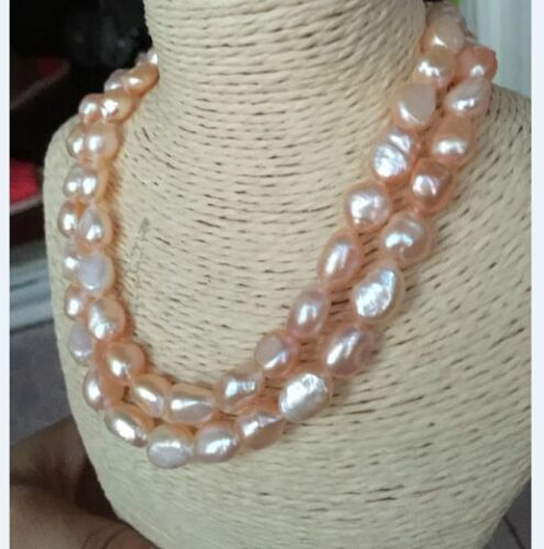 """double strands 9-10mm baroque south sea gold pink  pearl necklace 18/""""19/"""""""