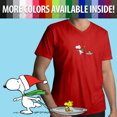 Peanuts Friends Charlie Brown Snoopy Woodstock Lucy Mens Tee V-Neck T-Shirt