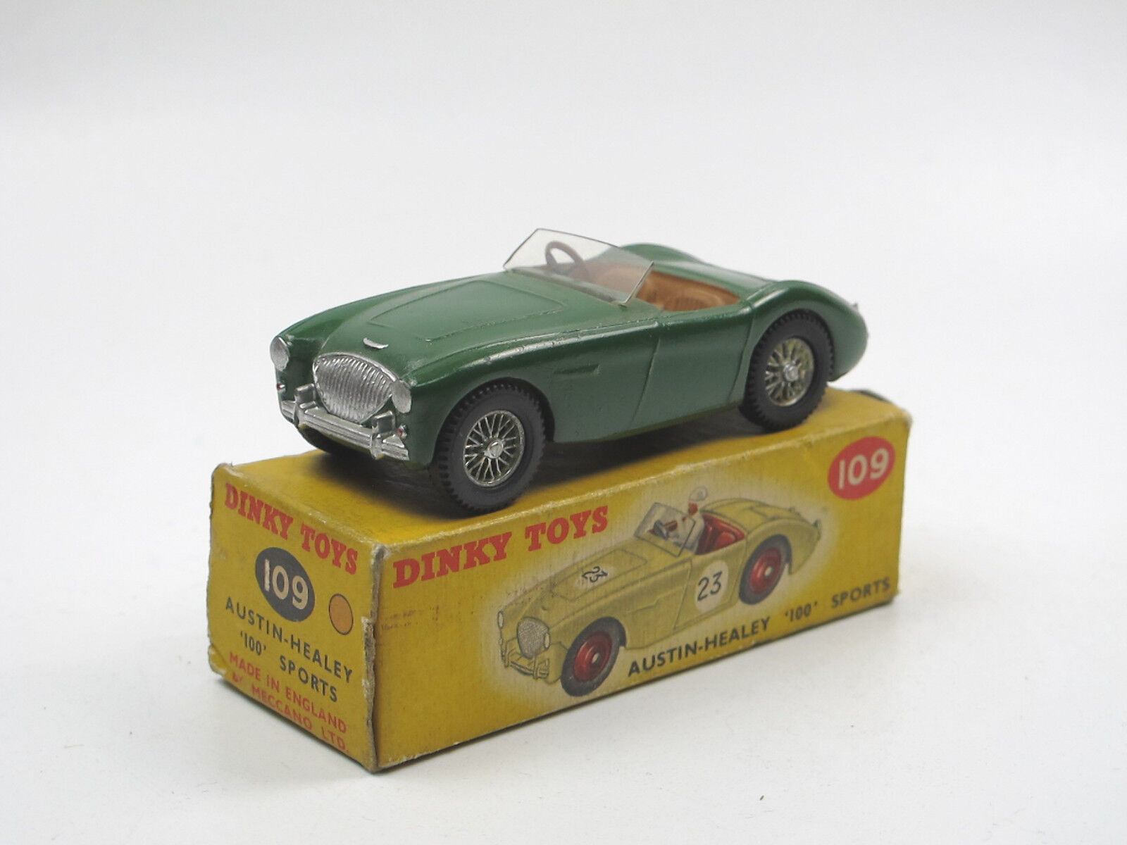 VINTAGE DINKY TOYS 109 Austin Healey 100 Sports Car verde-restaurato in scatola originale