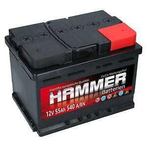 autobatterie hammer 12v 55ah starterbatterie wartungsfrei. Black Bedroom Furniture Sets. Home Design Ideas