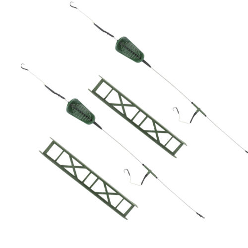 Details about  /2pcs Fishing Inline Feeder Carp Lure Cage Plastic Rust-proof Hook Fishing Supply