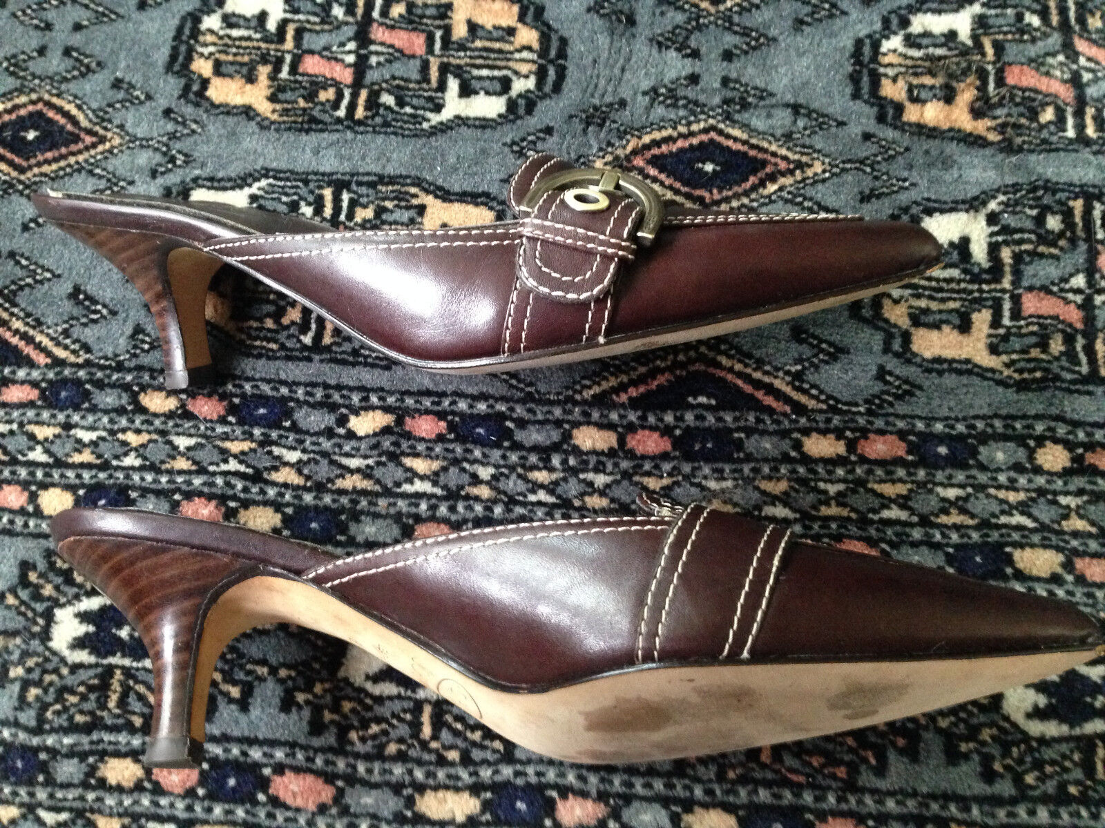 Joan and David Circa Mahogany Leather Kitten Heel Mules, Sz Sz Sz 6M, MINT CONDITION dd3f43