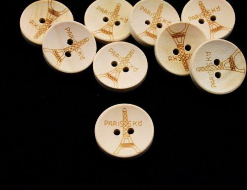 2-trou 5 boutons Beige tour Eiffel nature 20mm holzknöpfe Bois