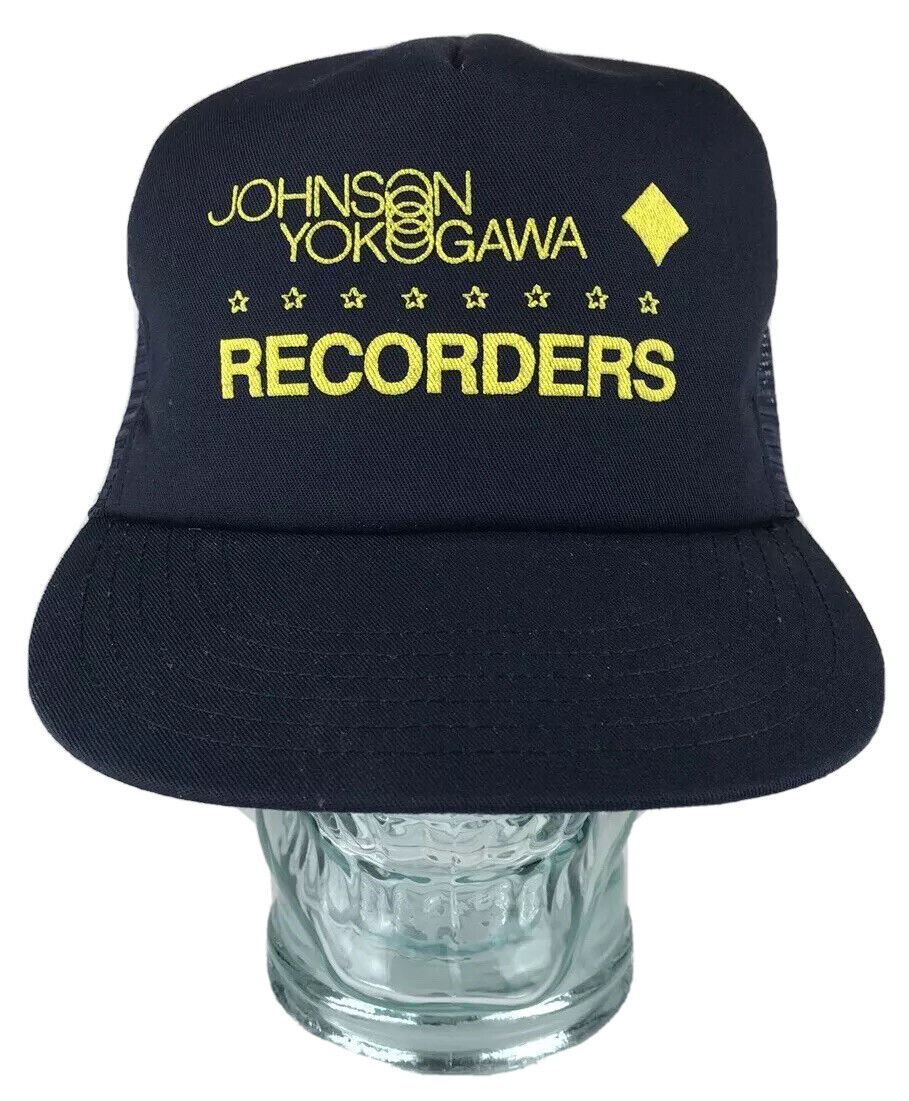 Vtg JOHNSON YOKOGAWA RECORDERS 80s Blue Yellow Trucker Hat Cap Snapback USA
