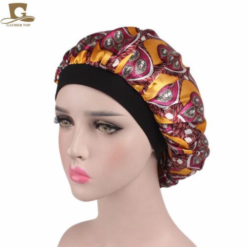 Soft Silk Satin Night Sleep Cap Hair Bonnet Hat Head Cover Wide Band Elastic CA