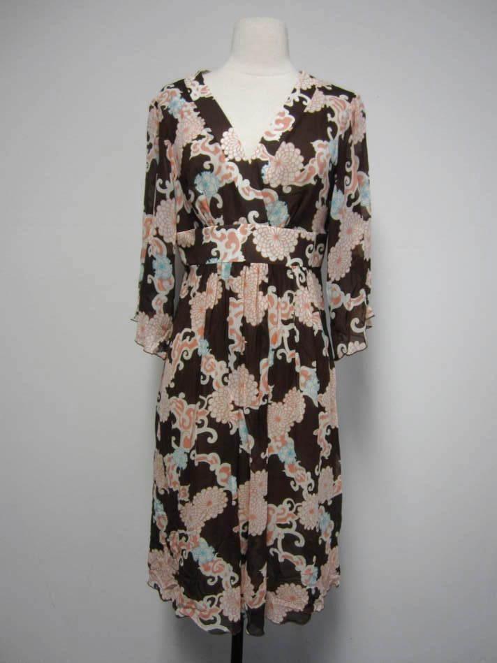 TRINA TURK braun & Rosa print empire waist flowy silk blend boho dress 6 PRETTY