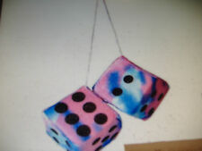 "TIE-DYE PLUSH FUZZY DICE BLUE & PINK   3"" INCHES HANG ON  YOUR CAR MIRROR"
