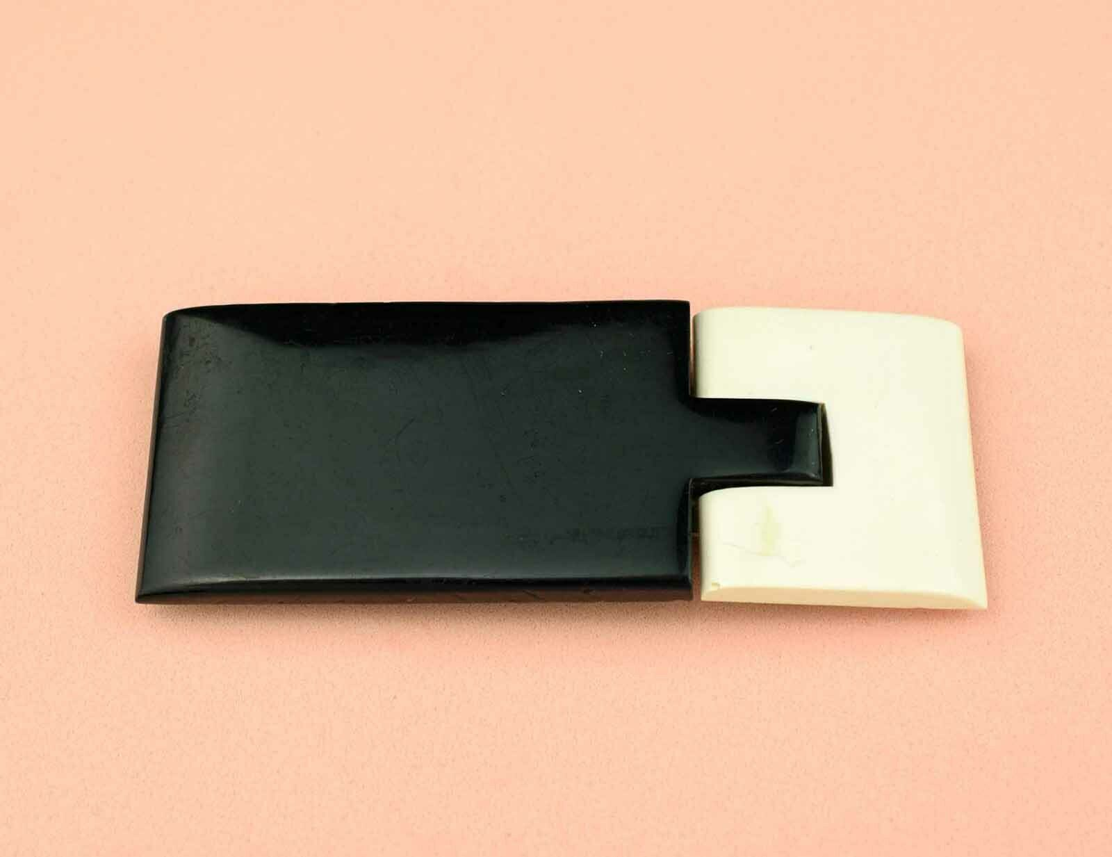 Vintage Art Deco Dress Buckle, Early Plastic Black and White