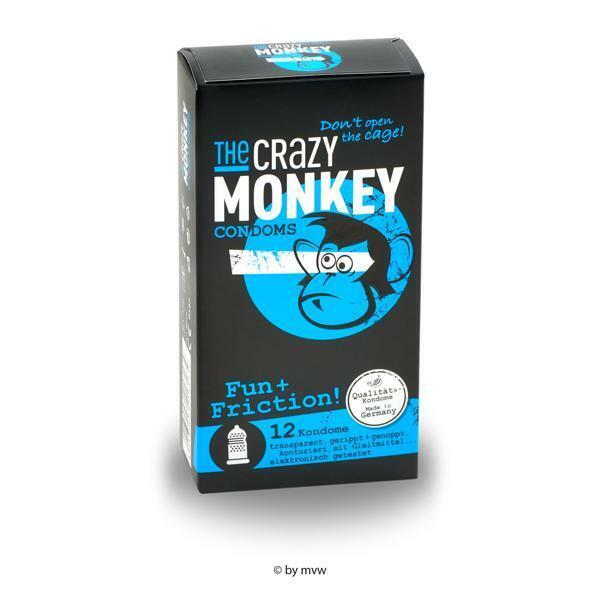 The Crazy Monkey Condoms Fun+Friction 12 pcs NETTO