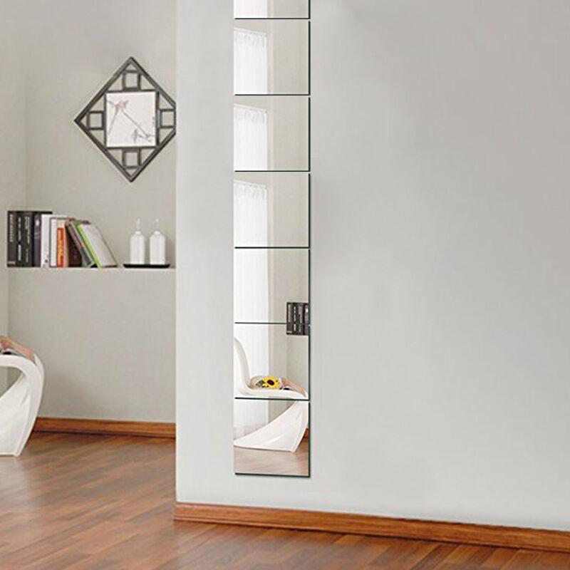 9pcs 3D Mirror Tile Wall Sticker Square Self Adhesive Room Decor Stick On Art