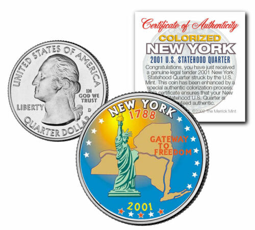 "/""GATEWAY TO FREEDOM-STATUE OF LIBERTY/"" NEW YORK STATE COLORIZED QUARTER COA!!"