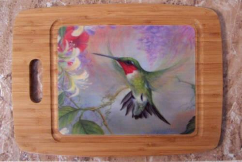 Hummingbird Cutting Board Hummingbird And Honeysuckle Pattern