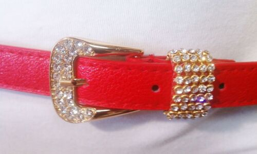 WOMEN THIN RED SUMMER FASHION BELT WITH RHIESTONES BUCKLE SIZE S M L XL