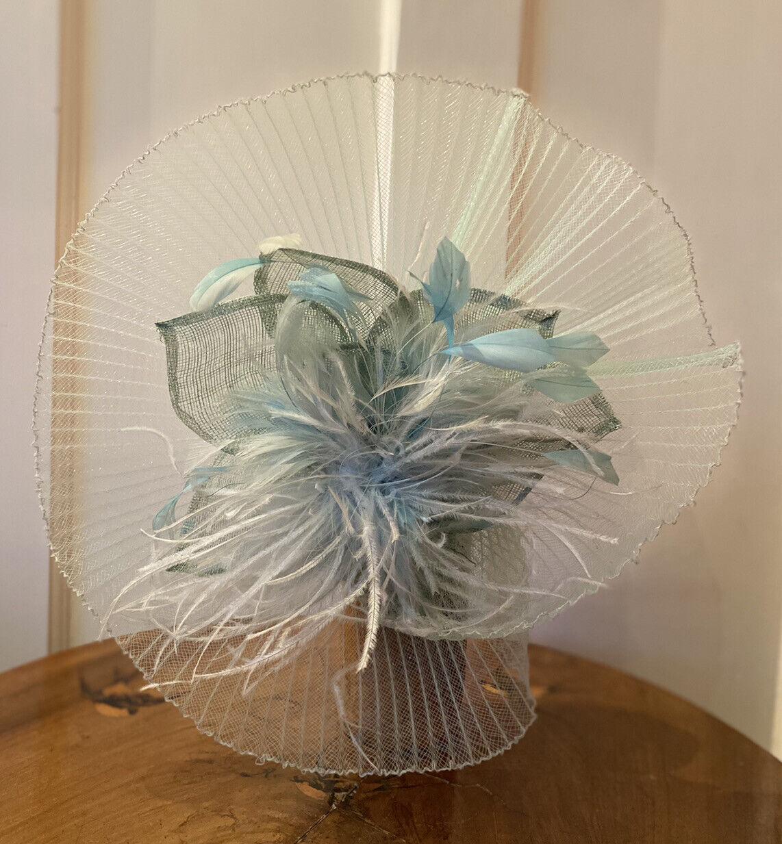 Deida Acero London Women's Wedding/Formal Fascinator - Blue Feather/Net Detail