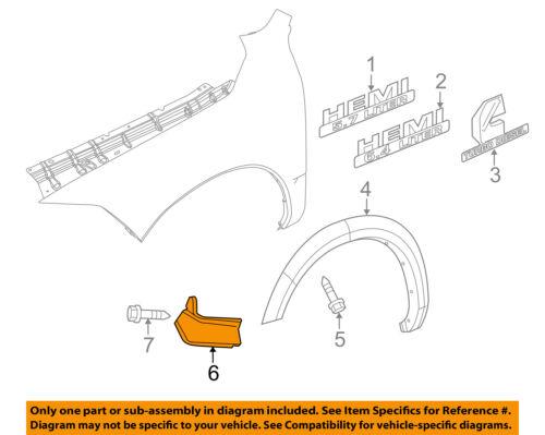 Ram CHRYSLER OEM 11-14 3500 Fender-Protector//Bracket//Support Right 5182362AB