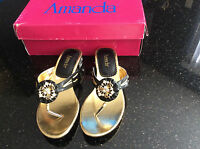 Women Amanda Black Jewels Sandals Size 7 Shoes