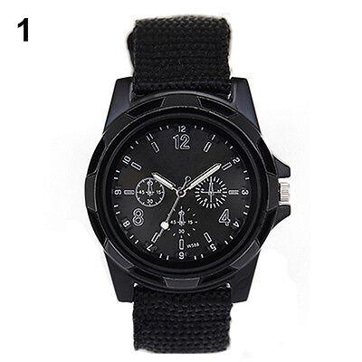 Men Boy Fashion Military Army Sport Style Canvas Belt Quartz Wrist Watch BC9U