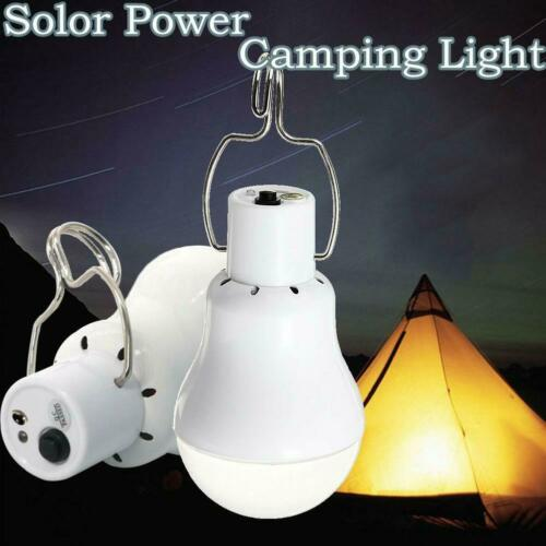 Portable Solar Powered LED Rechargeable Bulb Light Outdoor Camping Yard Lamps