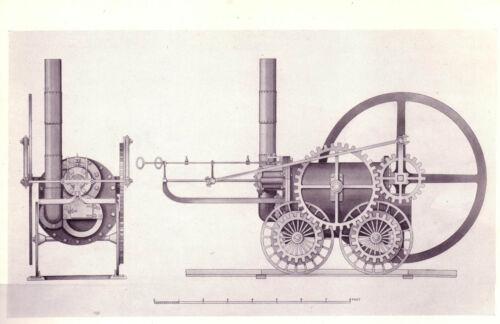 Encadrée Imprimer-Coalbrookdale Locomotive à vapeur invité par Richard Trevithick 1804