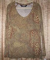 Norma Kamali Animal Print Long Sleeved Top, Misses Xxl (20)