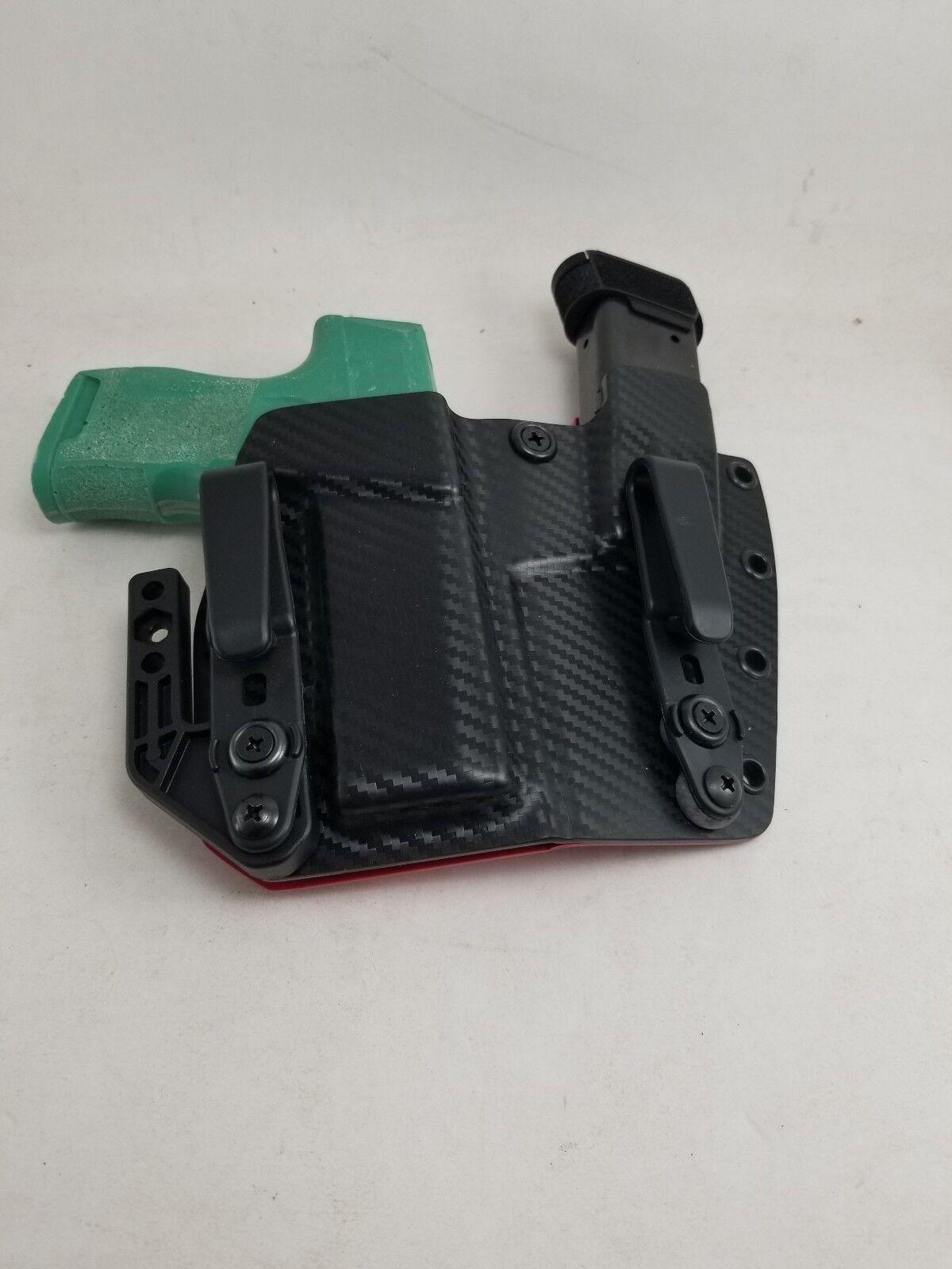 Sig P365 apéndice Sidecar Funda exhibición de Fibra de Carbono Negra Y Roja Trasera Sig p365