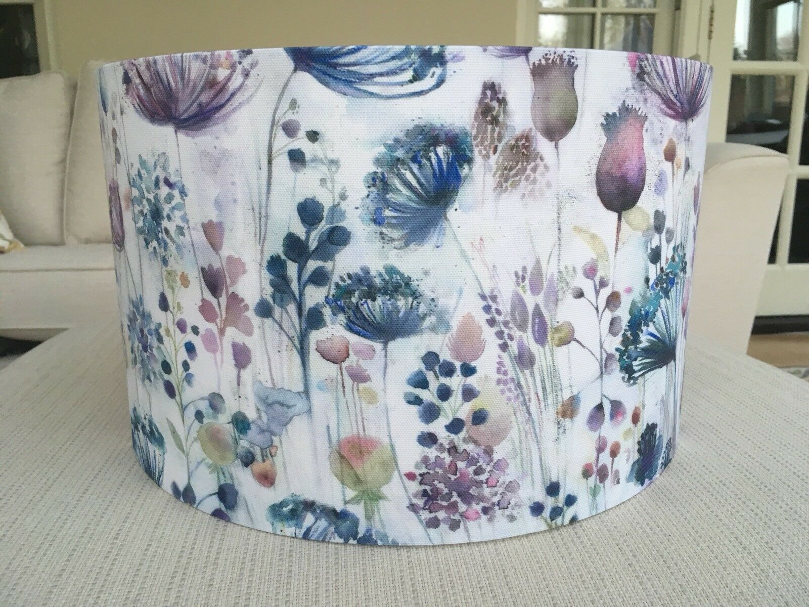 New Handmade Lampshade Voyage Maison Meadow Seedheads Fabric lila Blau Cream