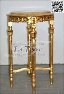 Tavolino alzatina stile barocco legno foglia oro piano in ...