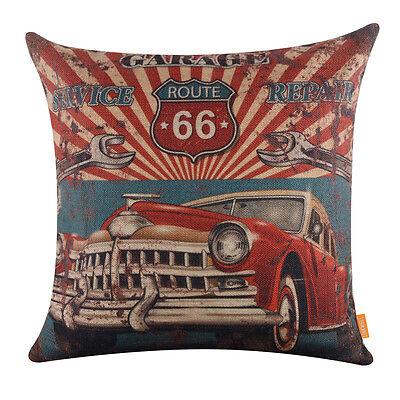 "18"" Retro Red Car Garage Service Repair Decor Route 66 Pillow Case Cushion Cover"