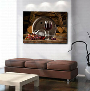 LARGE FRAMED CANVAS WALL ART PICTURE WINE GLASS WOOD BARREL RED GRAPES NEW PRINT