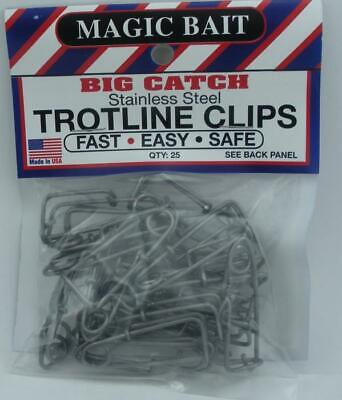 Lot 3 Magic Bait 777-12 Big Catch Stainless Steel Trotline Clips 25-Pack