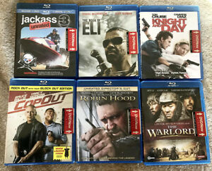 6-BLU-RAY-LOT-Book-of-Eli-Jackass-3-Robin-Hood-Warlord-Knight-and-Day-Cop-Out