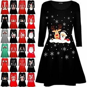 Womens-Ladies-Kids-Girls-Christmas-Xmas-Santa-Reindeer-Flared-Swing-Mini-Dress