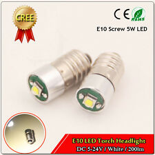 1x LED 5W Miniature E10 DC 5-24V volt Mini Screw E10 Base for Torch Light White