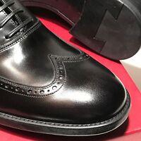 Ferragamo Black Wingtip Shiny Leather Oxford Men's Dress Fashion Casual Shoes