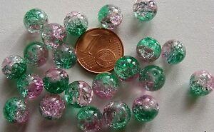 40 perles ronde verre CRAQUELE VERT 8mm DIY création bijoux