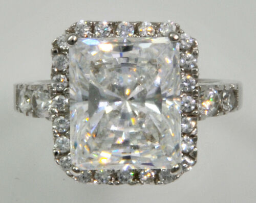 5 ct Radiant Cut Ring Top Russian Quality CZ Extra Brilliant Stunning SS Size 6