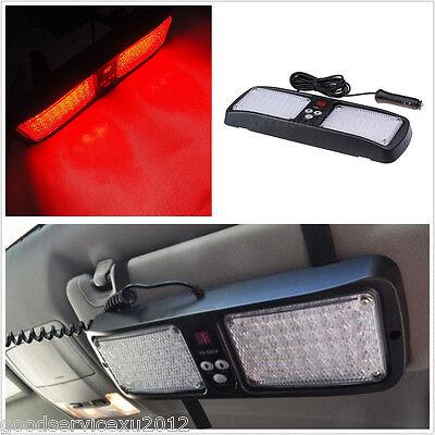 86LED Super Bright Red Car Vehicle Sunshield Strobe Emergency Lamp 12 Flash Mode