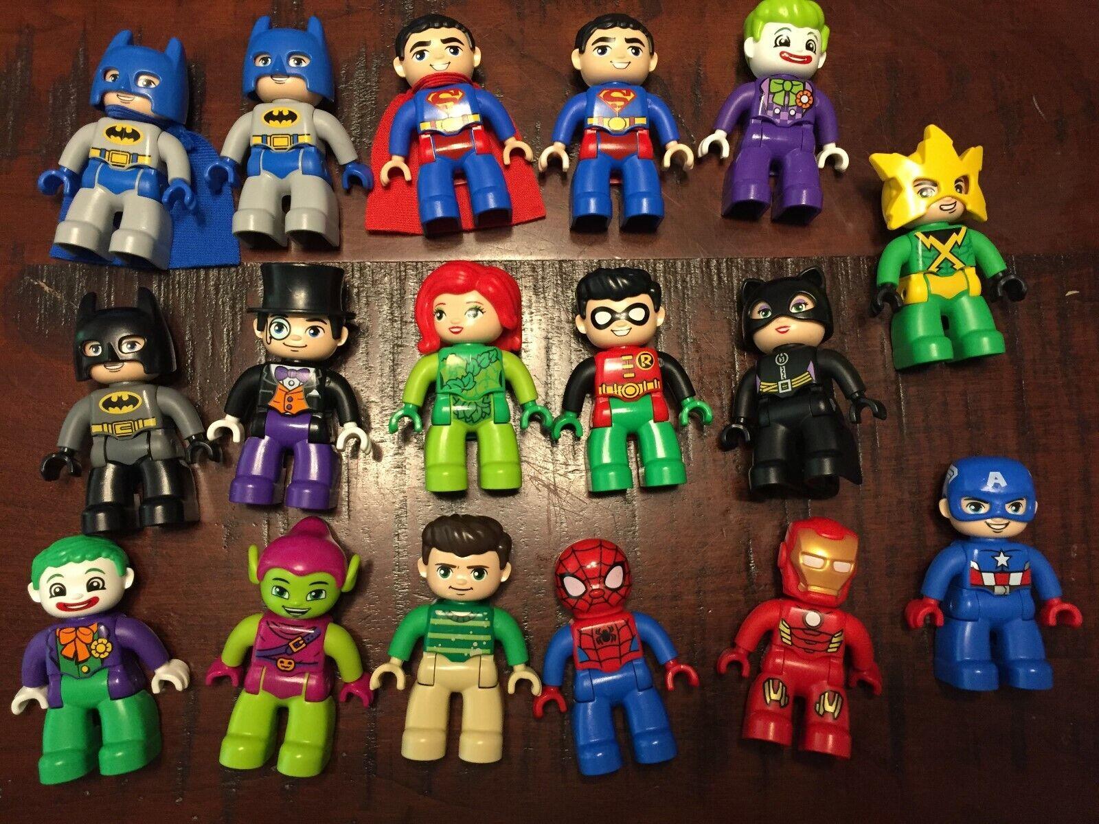 lego duplo batman spiderman superman cat wonder Robin Joker Poison Ivy Penguin