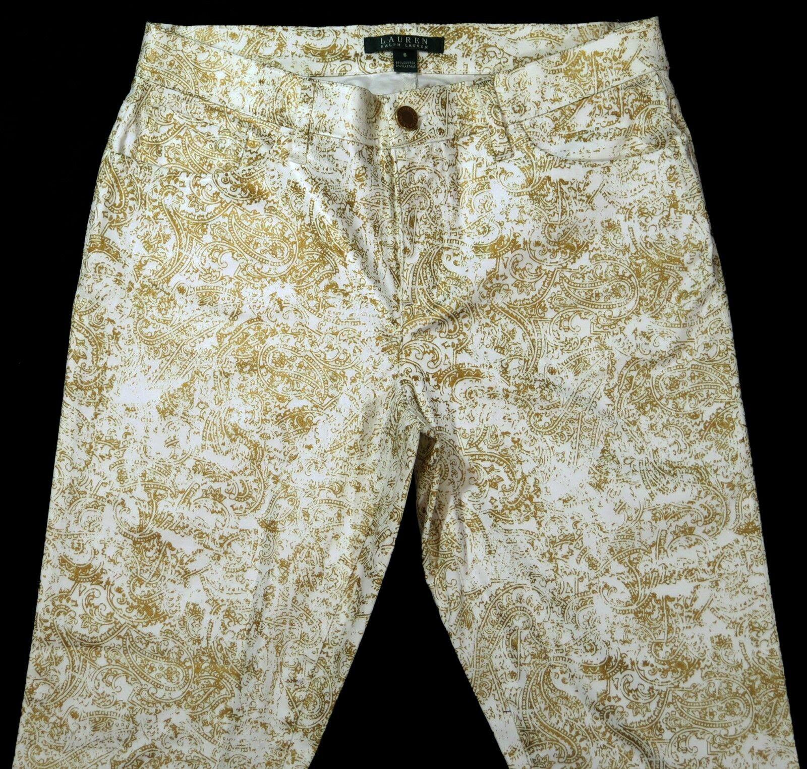 Ralph Lauren Donna Bianco oro Metallizzato Stampa Pantaloni a Gamba Dritta Stretch Jeans