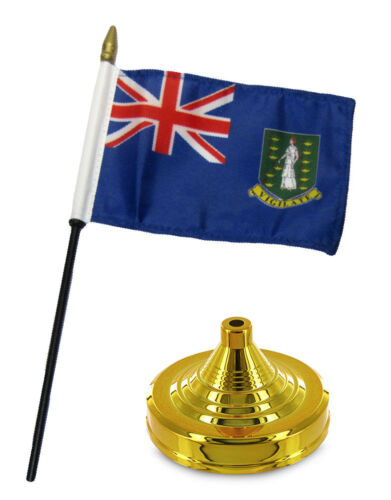 "British Virgin Islands 4/""x6/"" Flag Desk Table Wood Stick Staff Gold Base"