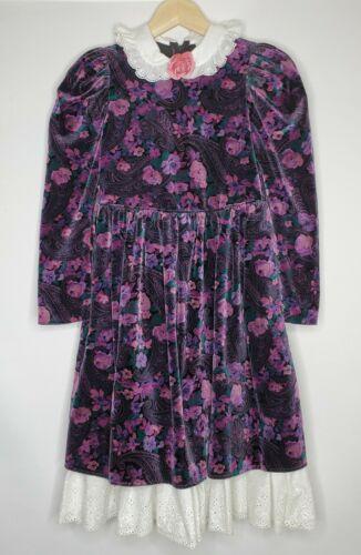 Vintage The Childrens Hour Lace Collar Purple Velv
