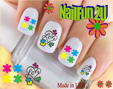 """24 Nail Decals #6501 Autism Awareness Puzzle Love"""" Waterslide Nail Art Transfer"""